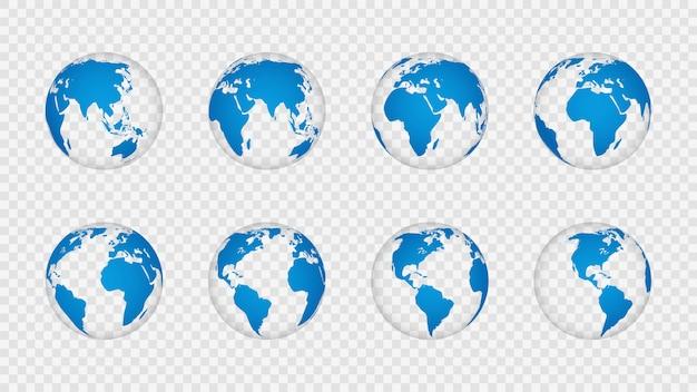 Globo terrestre 3d. realistici mappamondi continenti continenti. pianeta con trama cartografia, geografia isolato su set vettoriale trasparente