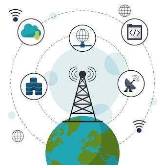 Globo della terra in primo piano e icone di comunicazione di rete