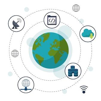 Globo della terra in primo piano e le icone di archiviazione di rete intorno