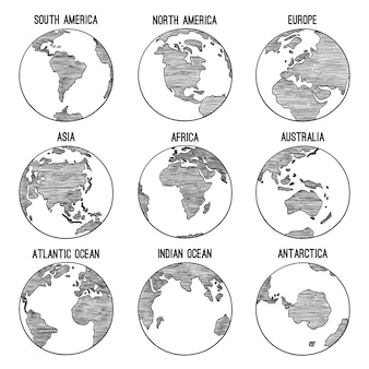 Doodle del globo terrestre. pianeta abbozzato mappa america india africa continenti illustrazioni disegnate a mano. globo mondo terra, america, africa, continente in tutto il mondo