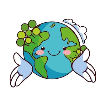 Globo terrestre felice per la natura di conservazione