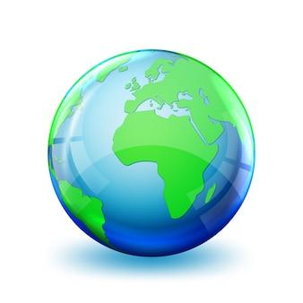 Icona del globo terrestre isolato su bianco