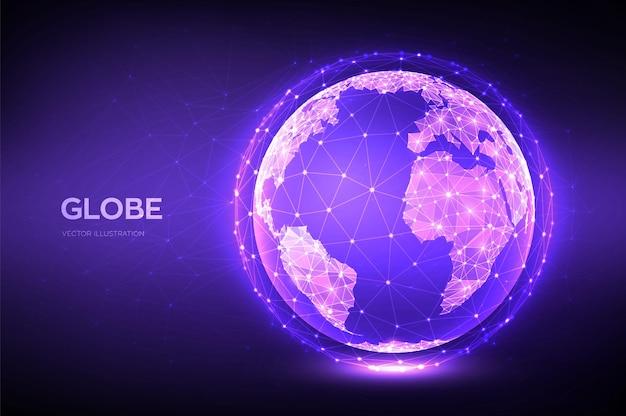 Illustrazione del globo terrestre con pianeta poligonale in stile basso poli
