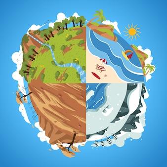 Globo terrestre con illustrazione del cerchio di quattro stagioni