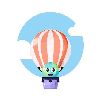 Simpatico personaggio mascotte mongolfiera terrestre