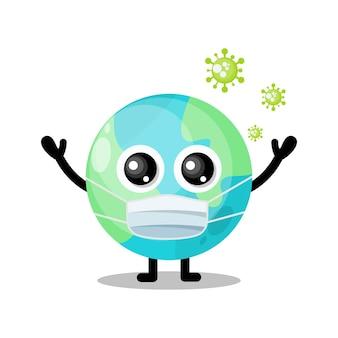 Simpatica mascotte del personaggio del virus della maschera della terra