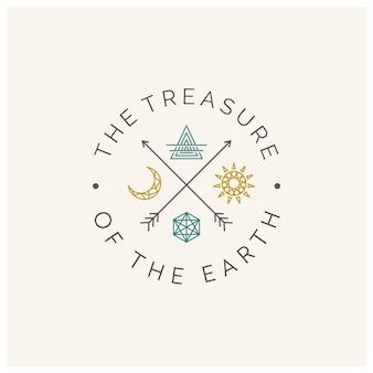 Earth mountain gemstone jewel etichetta logo design con stile bohémien