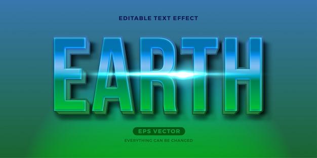 Earth nature effetto testo modificabile verde Vettore Premium