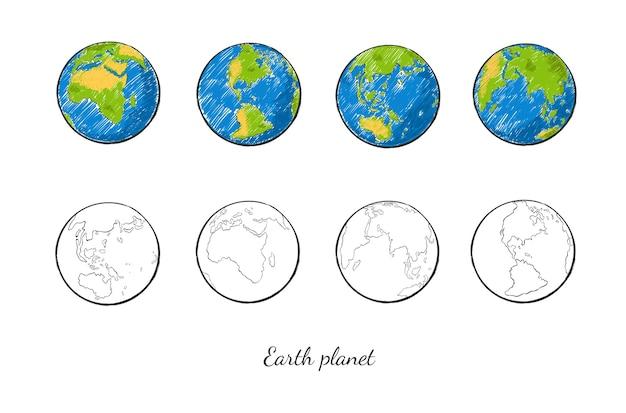 Disegnato a mano del pianeta terra impostato in diverse viste varianti colorate e contorno