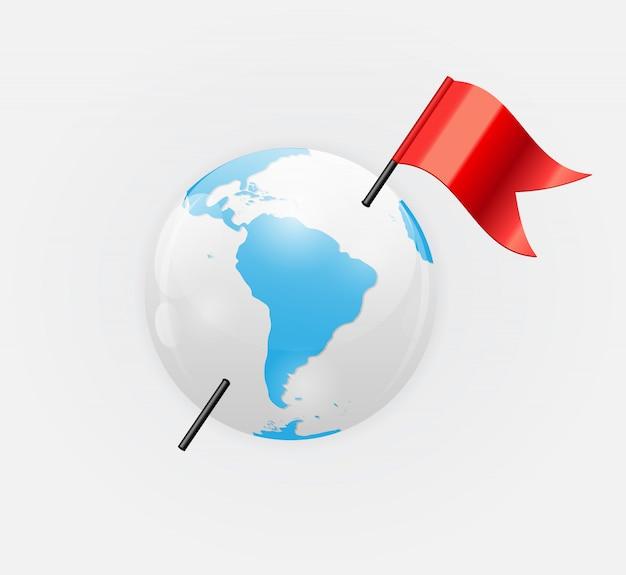 Icona del pianeta terra con illustrazione bandiera rossa