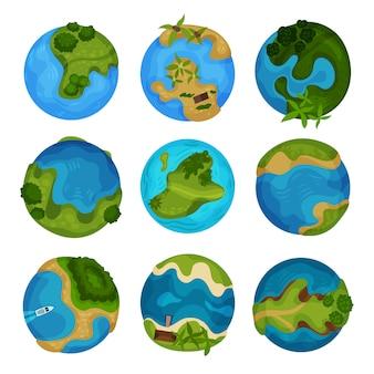 Set di pianeta terra, globo con oceano e isole verdi bollire illustrazioni su uno sfondo bianco