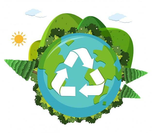 Un logo di riciclo della terra