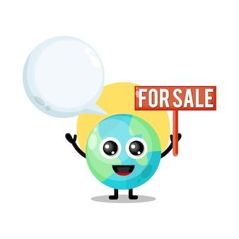 Terra in vendita simpatico personaggio mascotte