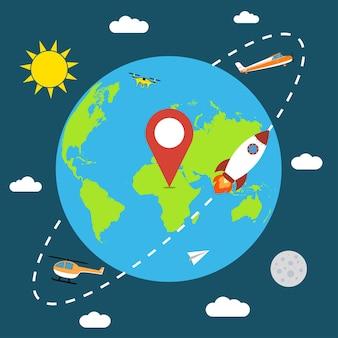 Terra nello spazio banner con razzo sole luna aereo elicottero carta aereo drone nuvole e mappa pin