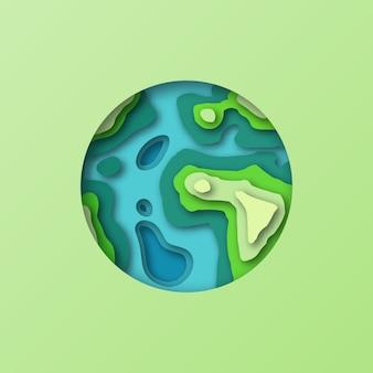 Simbolo della terra in stile taglio carta. fai da te stilizzato eco terra pianeta sfondo cartolina. illustrazione astronomica del taglio della carta 3d