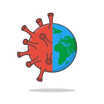 La terra si trasforma in un'illustrazione dell'icona di vettore del virus. icona piana del mondo che attacca il coronavirus