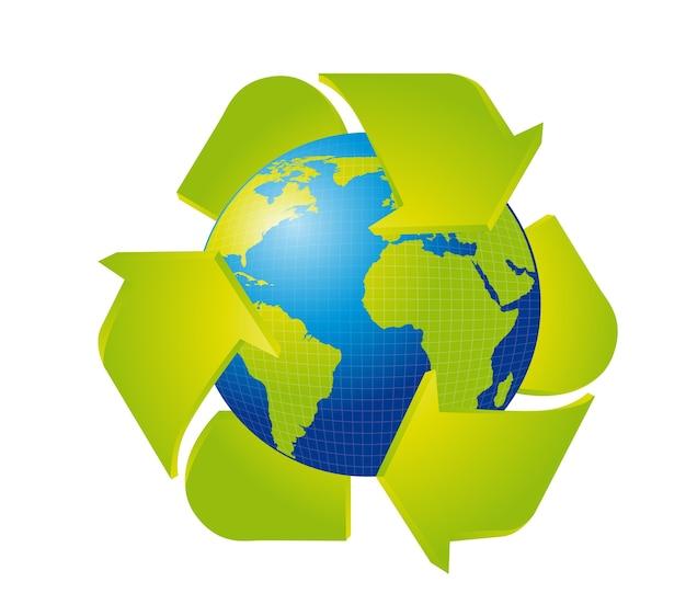 Terra con segno di riciclo isolato
