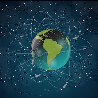 Terra con i satelliti. vista dallo spazio. illustrazione vettoriale eps10