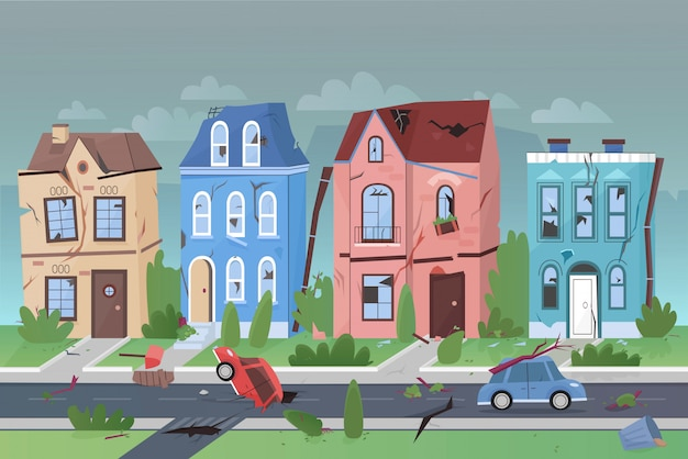 Disastro naturale di terremoto nell'illustrazione piana di vettore del fumetto della piccola città