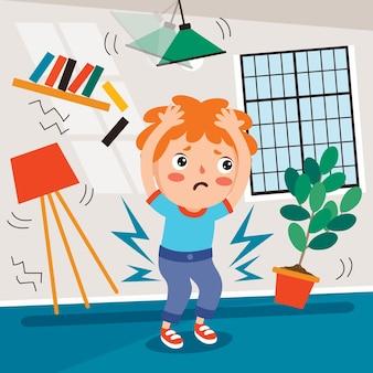 Scena del terremoto con personaggio dei cartoni animati