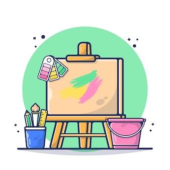 Cavalletto art board con cancelleria, righello, matita, illustrazione di pennello. concetto di strumento artistico. stile cartone animato piatto