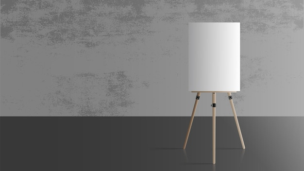 Cavalletto in una stanza vuota. cavalletto in legno. muro grigio cemento. realistico.