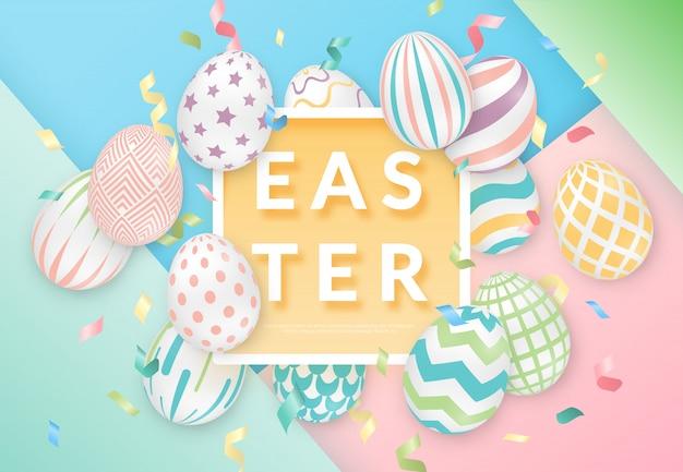 Fondo di pasqua con 3d uova decorate, testo, nastri e cornice.