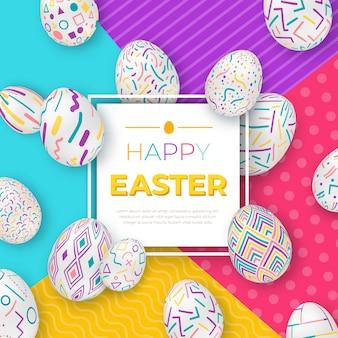 Fondo di pasqua con cornice quadrata e uova decorate colorate su sfondo geometrico moderno.