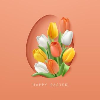 Sfondo di pasqua con tulipani di colore bianco giallo e arancio a forma di uovo