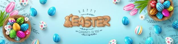 Banner di pasqua modello con uova di pasqua nel nido e carattere di biscotti cracker su sfondo blu.