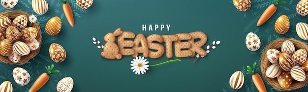 Modello della bandiera di pasqua con uova di pasqua dorate nel nido e carattere di biscotti cracker sulla lavagna.