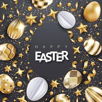 Sfondo nero di pasqua con uova dorate decorate realistiche, nastri, stelle, coriandoli e testo. forma a uovo.