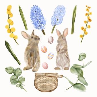 Conigli pasquali conigli con uova, cestino e giacinti di fiori blu e gialli