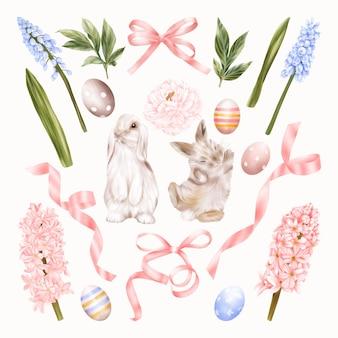Conigli pasquali con giacinti di fiori blu e rosa