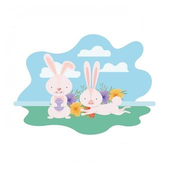 Coniglietti pasquali con icona isolata paesaggio