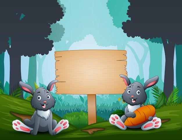 I coniglietti pasquali con un cartello in legno sulla foresta