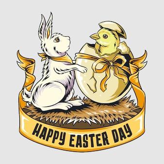 Coniglietto pasquale e simpatici pulcini escono dall'uovo