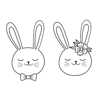 Coniglietto pasquale faccia disegno vettoriale coniglietto disegno di assieme illustrazione vettoriale di linea