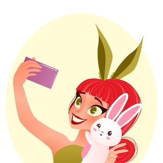 Illustrazione della ragazza del coniglietto di pasqua. la giovane ragazza sorridente che indossa le orecchie del coniglietto prende selfie con il coniglietto.