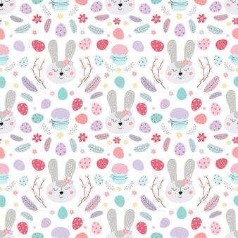 Illustrazione del modello senza cuciture del coniglietto di pasqua