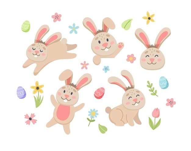 Coniglietto di pasqua con graziosi fiori e uova. elementi di cartone animato piatto disegnato a mano.