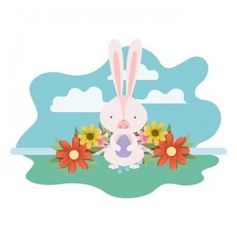 Coniglietto di pasqua con icona isolato paesaggio