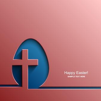 Scheda di pasqua a forma di uovo con l'immagine di una croce cristiana, sfondo di pasqua