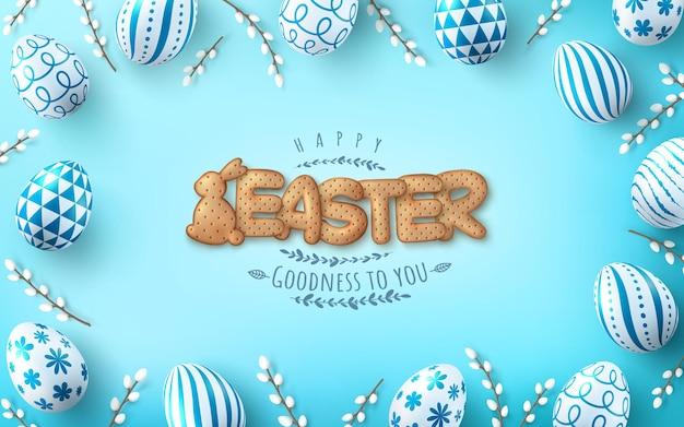 Modello di carta di pasqua con uova di pasqua e simpatico coniglietto e lettere biscotto su sfondo azzurro