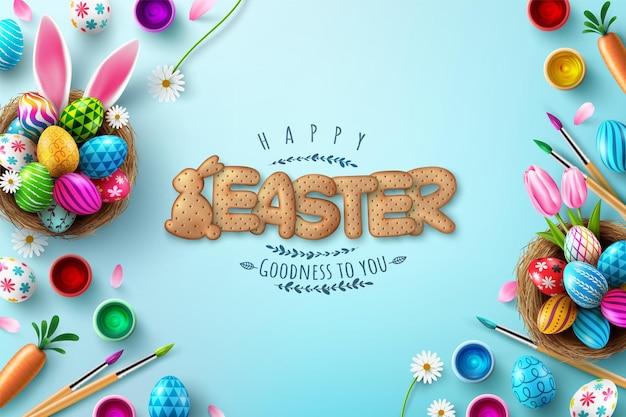 Modello di carta di pasqua con uova di pasqua nel nido e carattere di biscotti cracker su sfondo blu