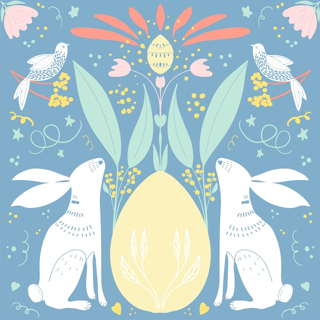 Carta di pasqua con fiori e conigli