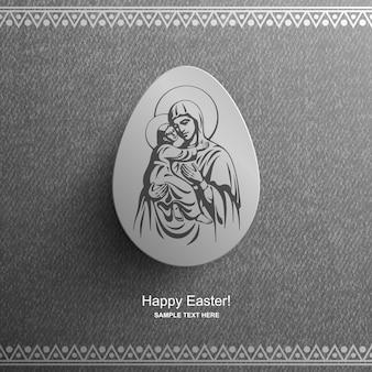 Biglietto di pasqua con un'immagine della beata vergine maria e del bambino gesù cristo, sfondo pasquale,