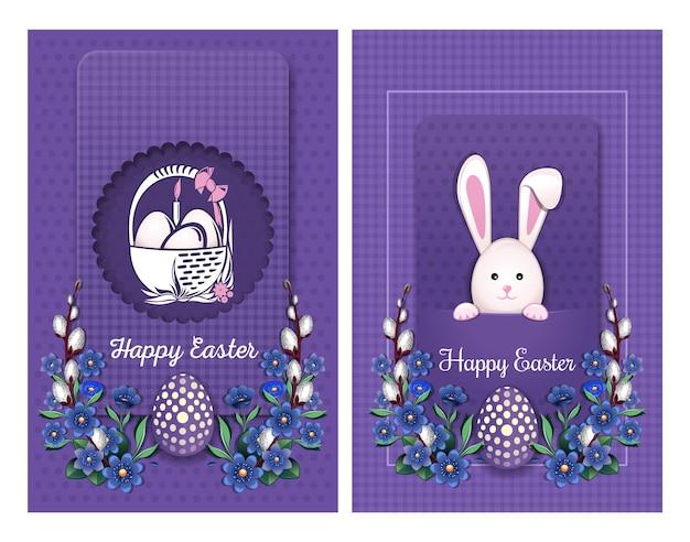 Set di carte di pasqua. coniglietto di pasqua e un cestino con le uova di pasqua.