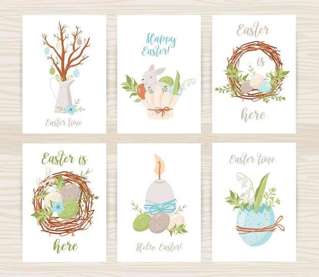 Modelli di cartoline di pasqua con uova, coniglietti e fiori. illustrazione per biglietti di auguri e inviti di pasqua
