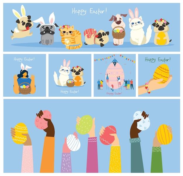 Carte di pasqua con animali che tengono le uova e il testo disegnato a mano